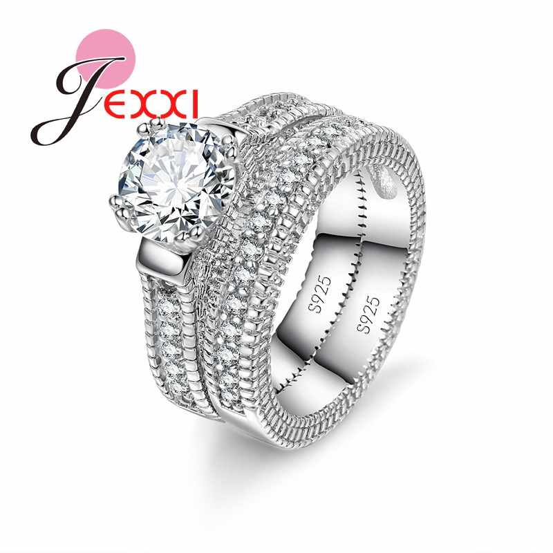925 Stamped Sterling Silver Ring Sets 2 PCS Bijoux Full African AAA Crystal Heart Stone Rings Romantic Wedding Best Chioce