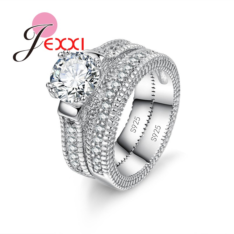 925 Stamped Sterling Silver Ring Sets 2 PCS Bijoux Full African AAA Crystal Heart Stone Rings Romantic Wedding Best Chioce(China)