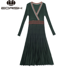 2018 New Autumn Pleaded Knitted Long Dress Long Sleeve Mid-Calf  Party Dress V-neck National Style Big Size