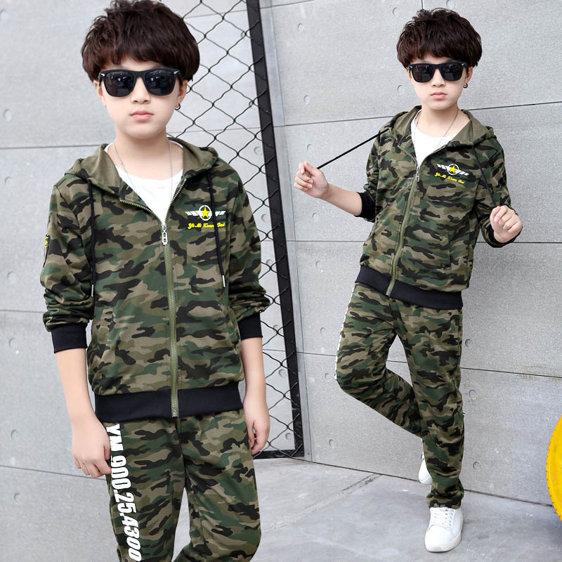 Boy Leisure Suit Children Spring Camouflage Clothing Sets For Boys 2 Piece Set Boy Outfit 4 6 8 10 12 Teenage Clothes children s clothing sets boy girl clothing 1 2 3 4 years fashion spring autumn winter toddler boy clothing outfit wear