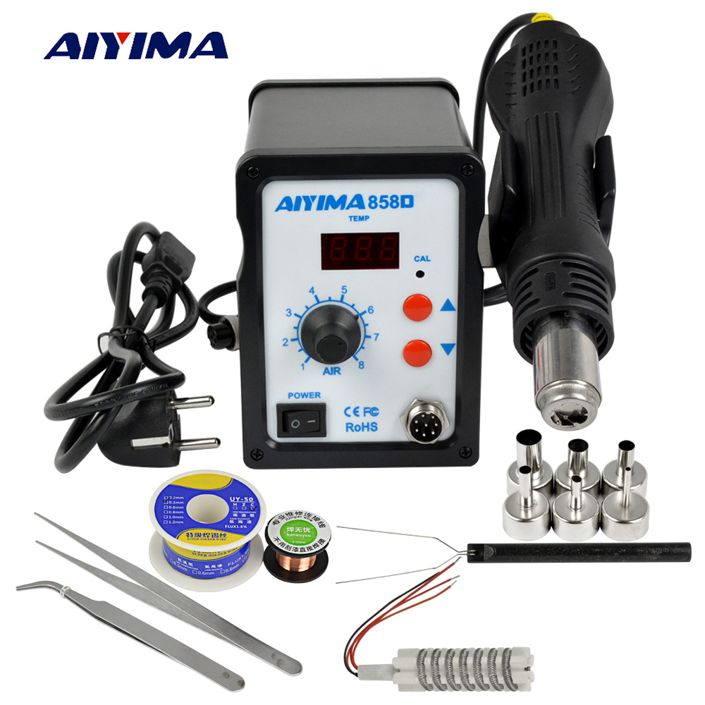 AIYIMA 858D Soldering Station Solder Soldering BGA Rework Station 110V 220V 700W Hot Air Soldering Station LCD Digital Station