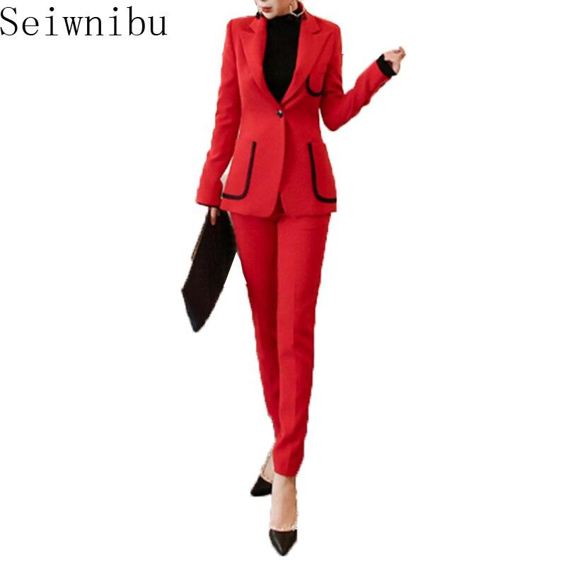 High Quality Women Work 2 Piece Set Business 2018 Formal single Button pocket Blazer Coat Office