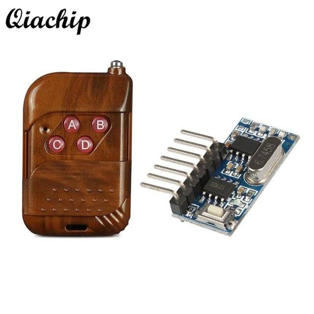 QIACHIP 433 mhz RF ממסר מקלט מודול אלחוטי 4 CH פלט עם למידה כפתור 433 Mhz RF שלט רחוק משדר Diy