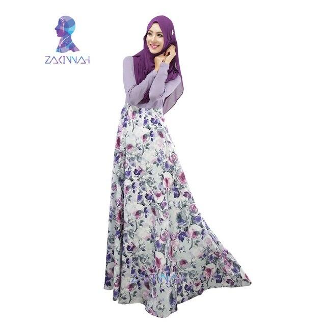 025 Новый стиль дамы два цвета сращены кафтан печати дизайн мусульманское платье кафтан с длинным рукавом исламской кафтан