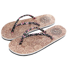 Hot Summer Brand Women Flowers Flip Flops Cloth Print Dots Flat Non-Slip Sandals IndoorWooden Slippers Ladies Casual Beach Shoes