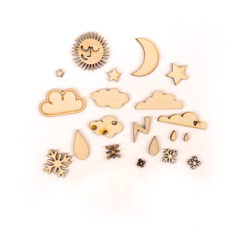 Weather Phenomenon Pattern Wooden Scrapbooking Painting Craft Handmade DIY Accessory Home Decoration 6-38mm About 20pcs