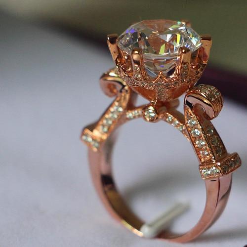 5 carat rose gold 750 luxury big stone smart synthetic diamonds women anniversary ring pleasing design - Big Diamond Wedding Rings