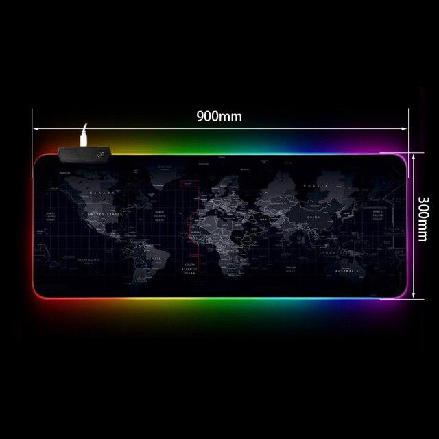 RGB игровая мышь с подсветкой, большой RGB коврик для мыши, геймер, большая мышь, коврик для компьютерной мыши, Карта мира, Mause Pad, клавиатура, Настольный коврик
