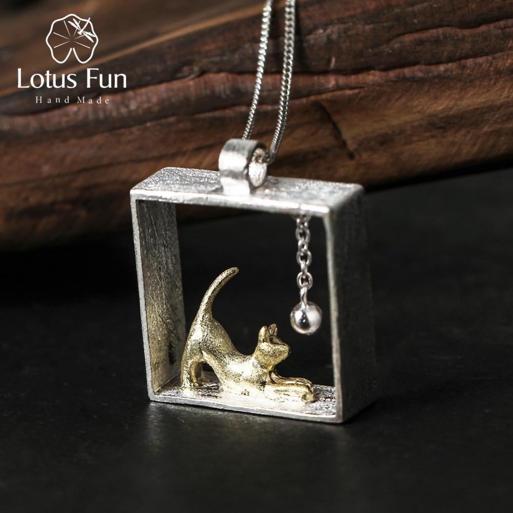Lotus Fun 925 ezüst medálok női macskajáték labda sterling ezüst karszalagok pendentif női ékszerek