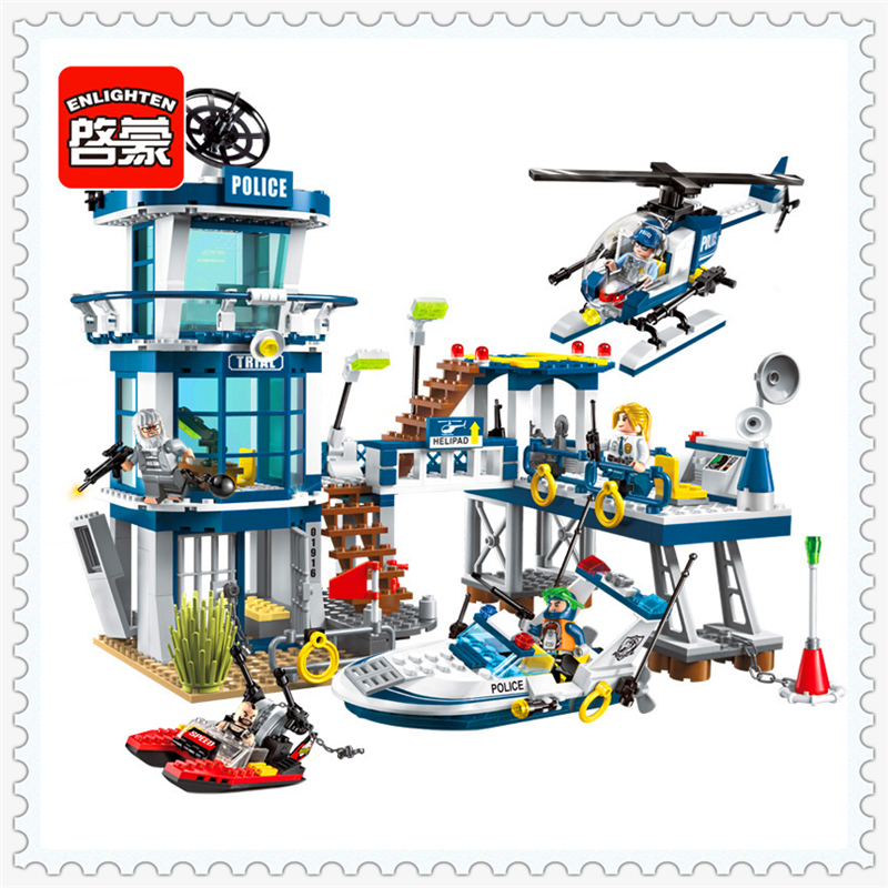 ENLIGHTEN 1916 Police Rescue Helicopter Boat Model Building Block 565Pcs Educational  Toys For Children Compatible Legoe 0367 sluban 678pcs city series international airport model building blocks enlighten figure toys for children compatible legoe