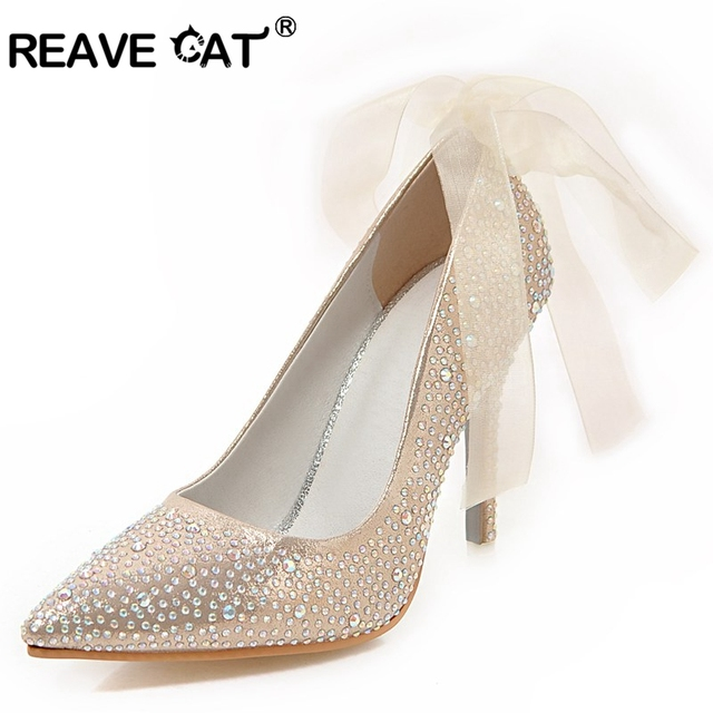 c0536a01e27 REAVE CAT New Rhinestone High heels Cinderella shoes Women pumps Pointed  toe Woman Crystal Wedding shoes Lace up Party Sexy A273