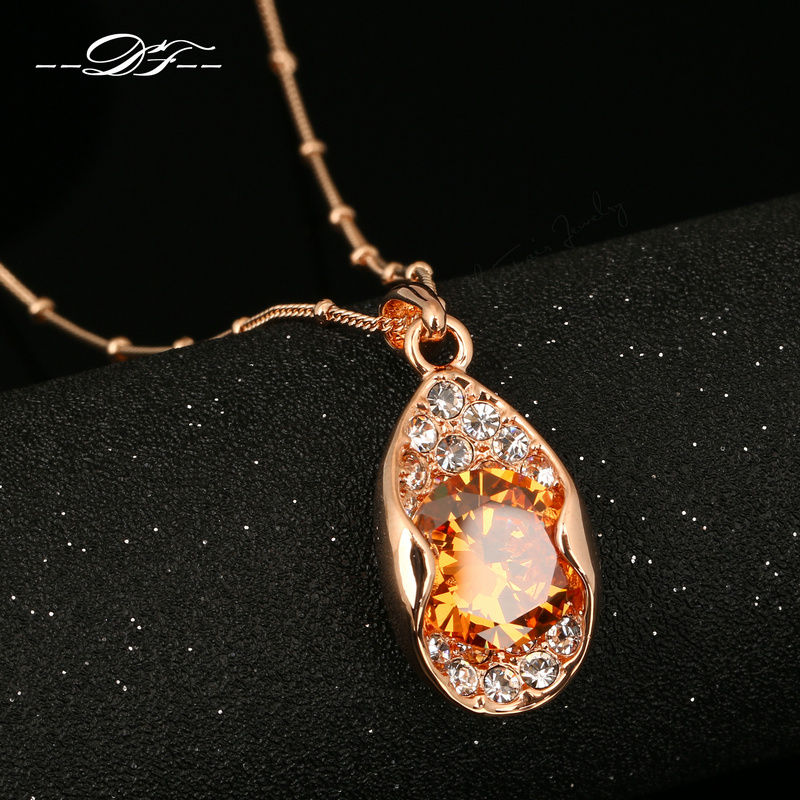 DFN132 Tears Drop Crystal Rose Gold Pated Necklaces & pendants Jewelry Wholesale For Women Crystal Chains colares ...