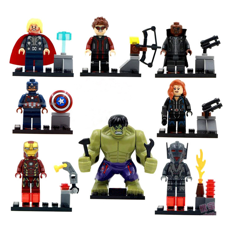 mylb 8pcs  SY271 The Avengers Age of Ultron  Hulk Ironman Compatible Action Figure Building Block Brick фигурка planet of the apes action figure classic gorilla soldier 2 pack 18 см