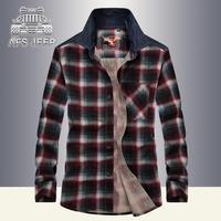 100 Cotton Loose Men Shirt New 2017 Autumn Winter Windbreaker Plaid Casual Plus Size Army Military