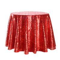 Tablecloth 100% brand new high quality red glitter round sequin tablecloth table cover delicate edge wedding decoration #4M07