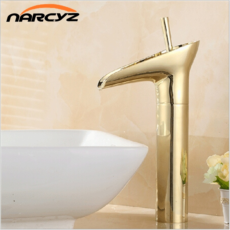 12 2 Height Gold single handle brass basin sink waterfall faucet wholesale and retail 8007K