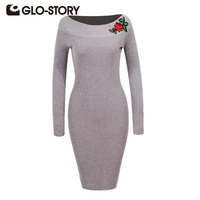 GLO STORY Women Embroidered Pullover Sweater Dress 2017 Autumn Winter Elegant Vintage Solid Party Bodycon Robe
