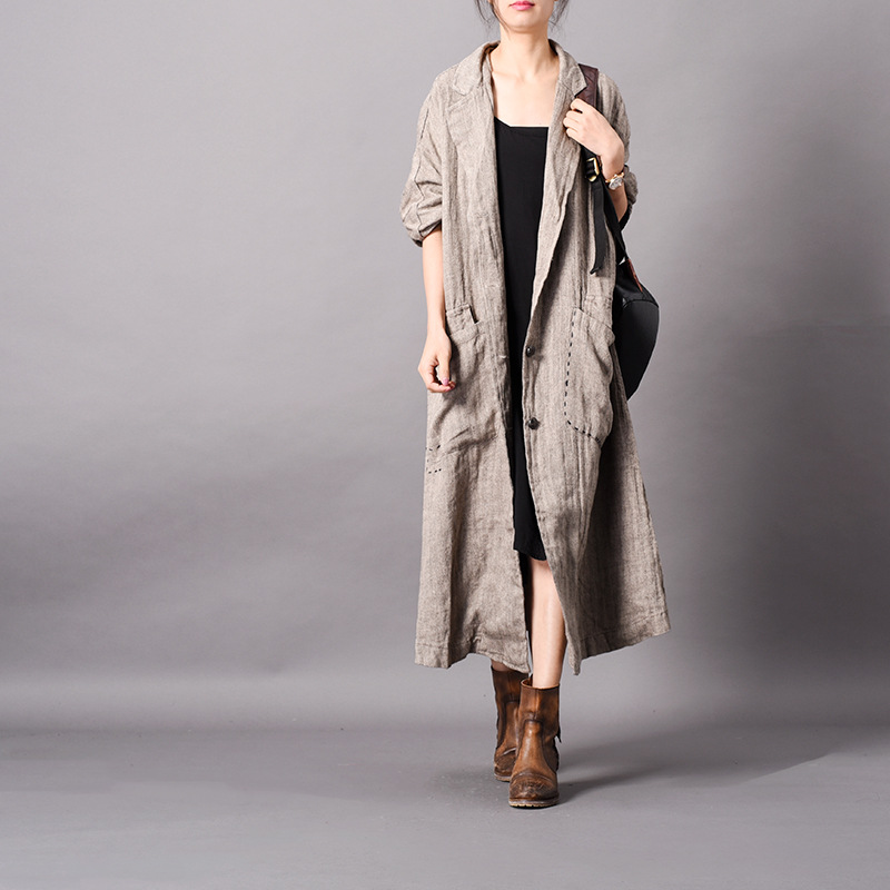 Women Spring Cotton Linen Patchwork Trench Coat Ladies Vintage Loose Retro Coat Female Overcoat 2019 Outerwear