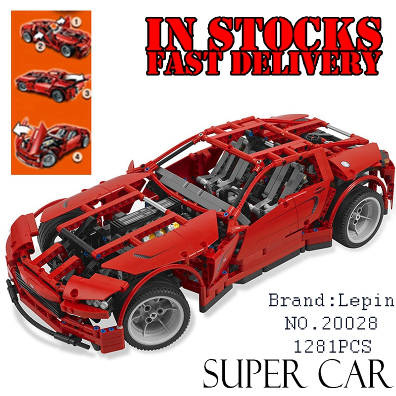 LEPIN 20028 Technic series Super Car assembly toy car model DIY brick building block toy gift for boy New Year gift 8070 police station park diy track car parking building block toy boy gift learning