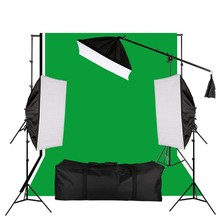 Hot Sale Photo Studio Softbox Lighting Kit Backdrop Stand 135W Light Bulbs Cantilever Stick