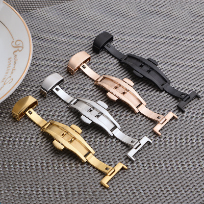 Stainless Steel Solid Double Push Button Fold Watch Buckle Butterfly Deployment Clasp Watch Strap Relojes Hombre 18mm 20mm 22mm maikes 18mm 20mm new high quality stainless steel deployment solid butterfly buckle watch band strap clasp for watch men