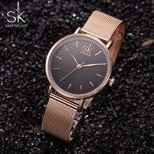 Shengke Damas Marca de Relojes de Cuarzo Reloj de Pulsera de Oro de Las Mujeres Mujeres de La Manera Relojes Montre Femme Reloj Mujer Relogio Feminino