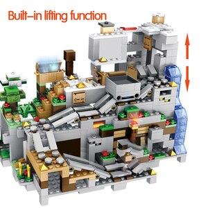 Image 4 - 1000Pcs Bouwstenen De Berg Grot Met Lift Waterval Cijfers Bricks Onderwijs Speelgoed Voor Kinderen Kids Geschenken