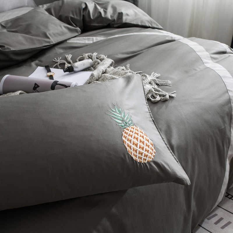 Европейский стиль темно-серый + желтый ананас узор Простой текстиль 3/4 шт постельных принадлежностей постельное белье пододеяльник комплект, простыня