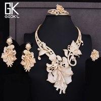 GODKI Luxury Nigerian Jewelry sets For Women Cubic Zirconia Dubai Gold Wedding Flower Drop Indian Long bridal jewelry sets NEW