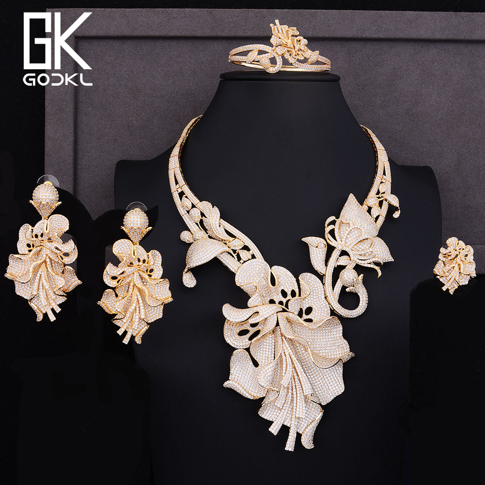 GODKI Luxury Nigerian Jewelry sets For Women Cubic Zirconia Dubai Gold Wedding Flower Drop Indian Long bridal jewelry sets NEW