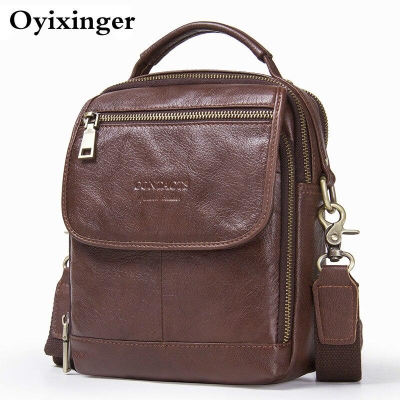 2019 High Quality Men Genuine Leather Small Shoulder Bags Man Messenger Bag Mens Crossbody Bags For