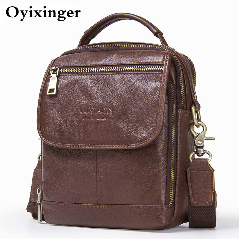 2020 High Quality Men Genuine Leather Small Shoulder Bags Man Messenger Bag Mens Crossbody Bags For Male Mini Briefcase Handbags