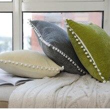 Modern Velvet Pillow Case For Sofa Car Office Sleep Cute Solid Color Cover Soft Warm Tassel Cushion 45*45cm