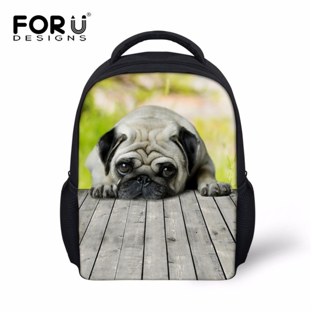 Cute Cat Bulldog Printing School Bags for 2-7 Years Kids 3D Animal Baby Girls Mini Book Bags 12 Inch Children School Bags