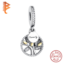 Unique 100% 925 Sterling Silver Household Tree Crystal Charms Beads Match Pandora Bracelet Pendant DIY Genuine Jewellery Making