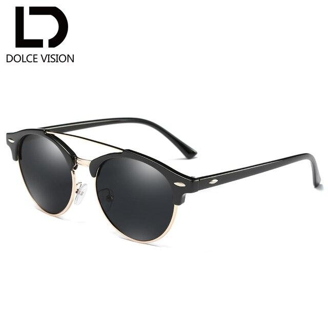 5f0091b3fa1 DOLCE VISION polarisé Rivet rond lunettes de soleil hommes Double pont noir  miroir lunettes de soleil