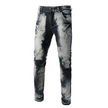Italian Style Men Jeans Fashion Designer Mens Knee Hole Frayed Ripped For Men,Fashion Pntas