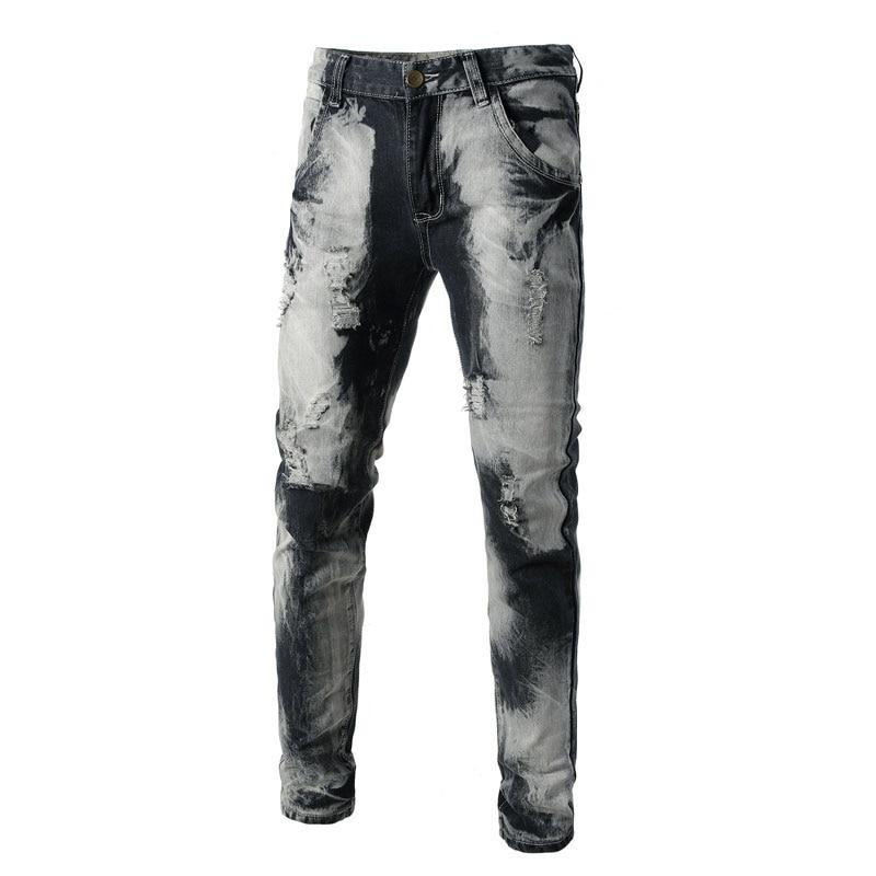 Italian Style Men   Jeans   Fashion Designer Mens   Jeans   Knee Hole Frayed Ripped   Jeans   For Men,Fashion Men Pntas