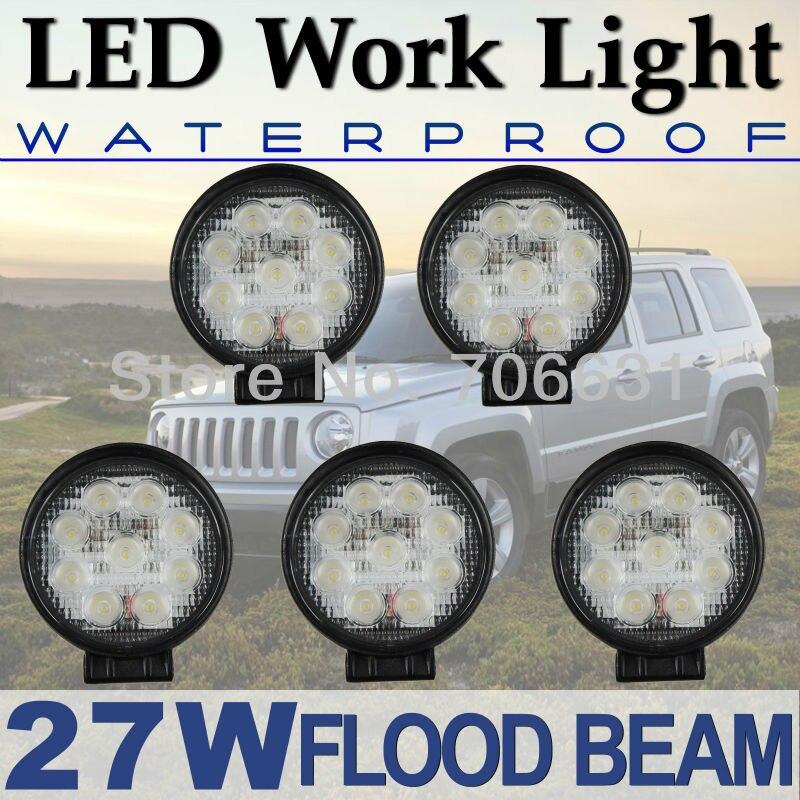 Tkeapl THTMH 5 piezas 12 V 24 V 27 W Lámpara de trabajo redonda LED luz haz de inundación camión fuera de carretera UTE D40 2090LM