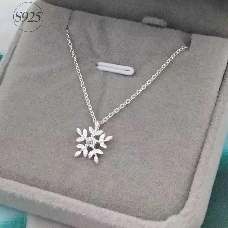 RYOUCUTE 100% réel pur nouveau 925 argent Sterling zircone flocon de neige colliers pendentifs pour femmes bijoux de mariage Kolye Collares