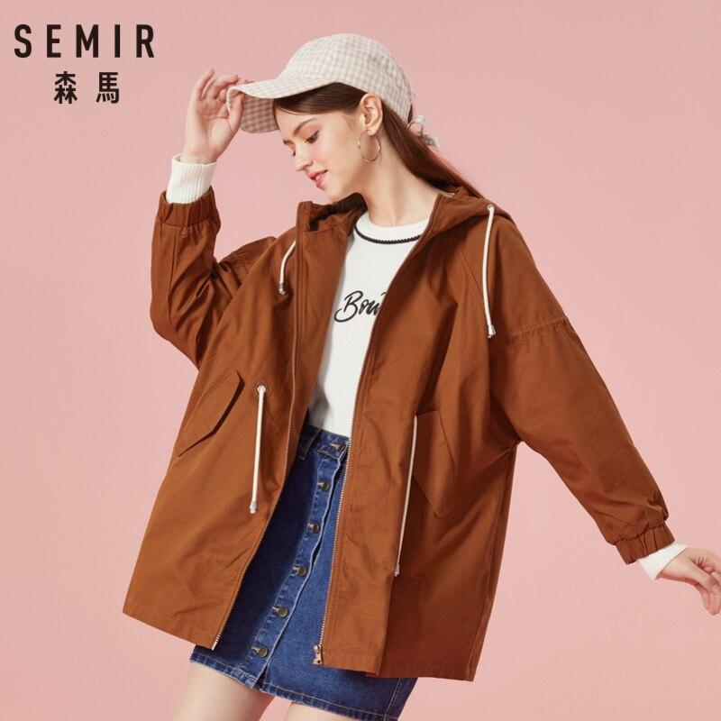 SEMIR Для женщин 100% хлопок куртка с капюшоном для девочек с полным молния куртка со шнурком вентиляция в капоте на спине эластичные манжеты