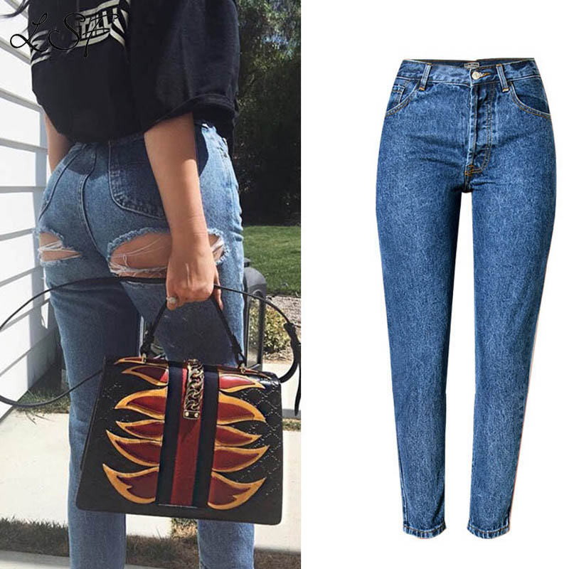 Lanshifei Sexy Buttocks Denim Pant 2017 New Spring Summer High Waist Jeans Women Long Casual Loose Straight Jeans Hole Pants