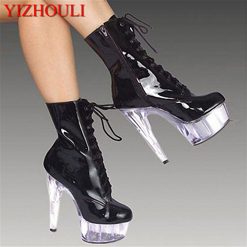 Stylish 15cm Platforms High Heel Shoes, Pole Dance / Model Shoes, 6 Inch Ankle Boots, Sexy Crystal Bootie white black 15cm super high heel platforms pole dance performance star model shoes wedding shoes