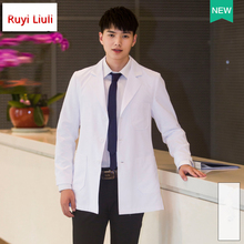 Unisex White Lab Coat Short Sleeve Pockets Uniform Work Wear Doctor Nurse Clothing-Ruyi L