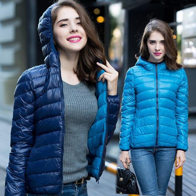 Novas Mulheres 90% de Pato Branco Para Baixo Jaqueta de Inverno Dois Lados Encapuzados Ultra Leve Para Baixo Casacos Casaco de Inverno Quente das Mulheres Parkas