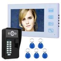 7 TFT Fingerprint Recognition RFID Password Video Door Phone Intercom Doorbell with IR-CUT HD 1000TVL Camera