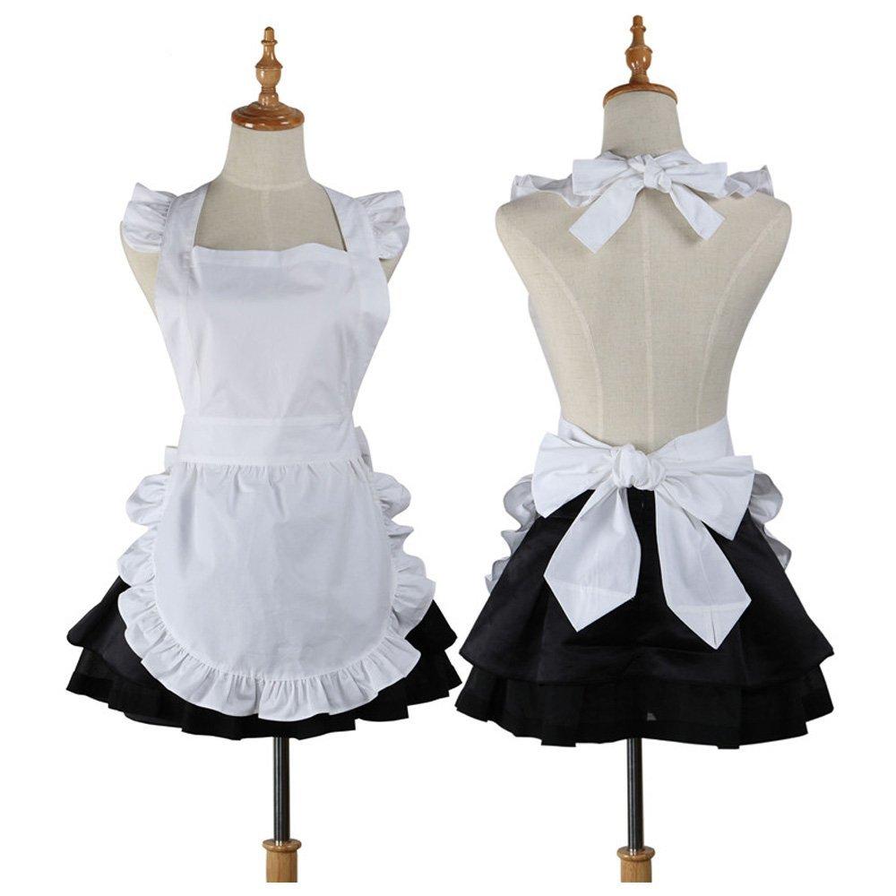 Cute White Retro Kitchen Restaurant Women Aprons for Women Girls Waitress Apron for Gift dress with Pockets|work apron|white apron|aprons for woman - title=