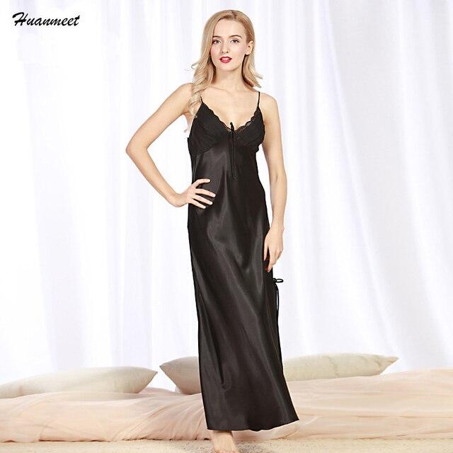 7a8355538 Huanmeet Nightgowns Lingerie Sexy Mulheres Pijamas De Seda Camisola De Cetim  Longo Vestido Camisola Roupa Camisa