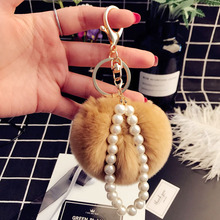 RE Fashion pearl faux rabbit fur pompom key chain trinkets women bag charm car pendant keychains holder fluffy ball key ring P40
