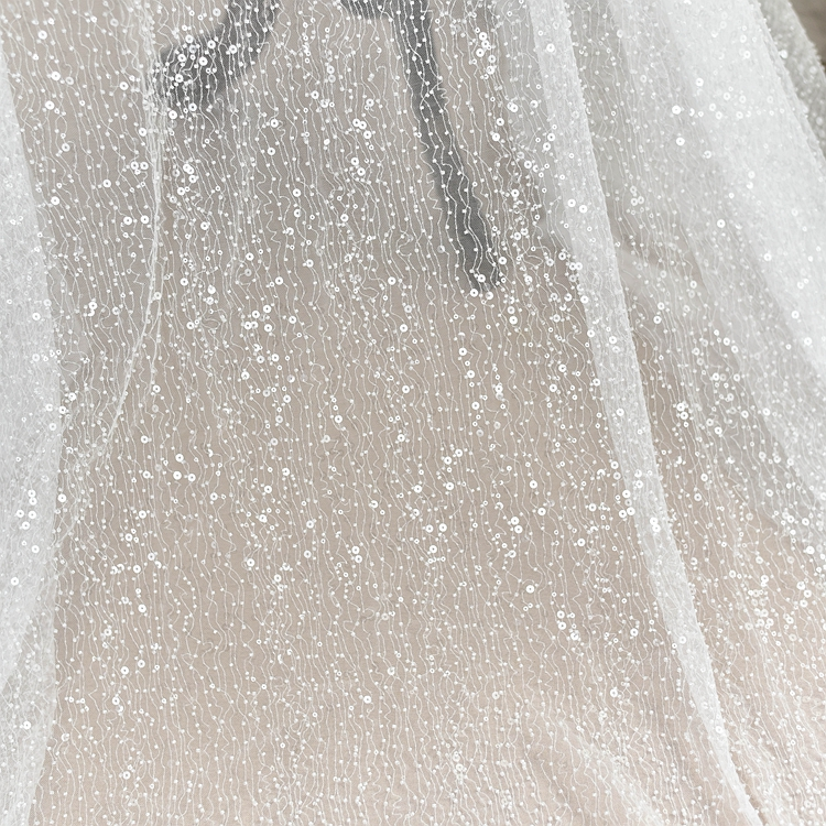 Handmade Sequins Embroidery Embroidered mesh Transparent Fabric Wedding dress diy Material Dress Decorative cloth RS1238Handmade Sequins Embroidery Embroidered mesh Transparent Fabric Wedding dress diy Material Dress Decorative cloth RS1238